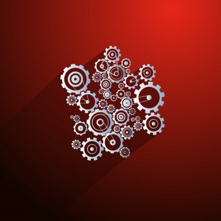 Abstract Paper Vector Cogs, Gears on Red Background Illustration