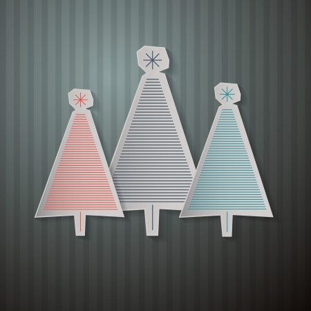 Retro Background with Paper Trees  Vector