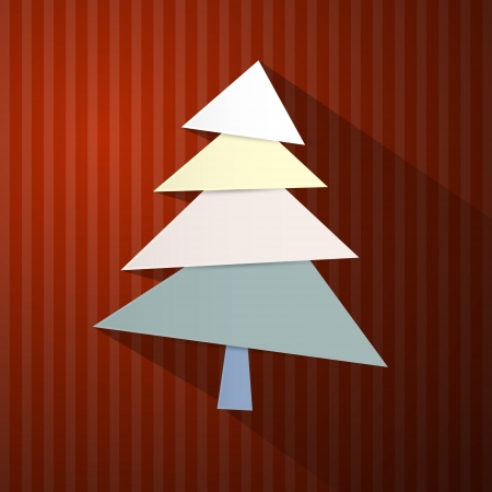 Retro Background with Tree Made from Sheets of Paper Vector