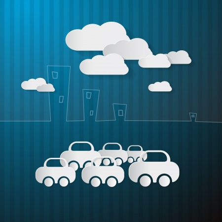 Abstract Paper Cars and Clouds on Blue Background  Vector