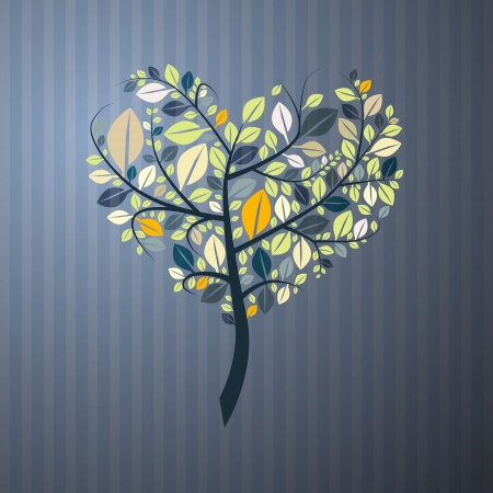 Abstract Heart Shaped Tree on Paper Background  Vector