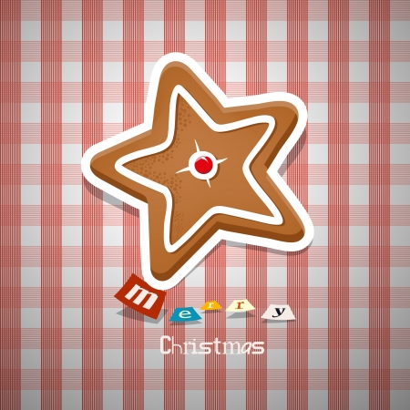 Christmas Background. Gingerbread Star on Tablecloth.  Vector
