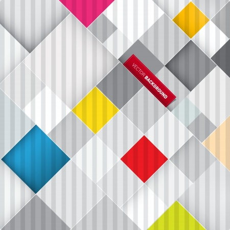 Abstract Retro Colorful Square Background  Vector