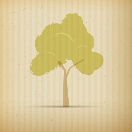 Árbol en el papel reciclado, Fondo de papel cartón