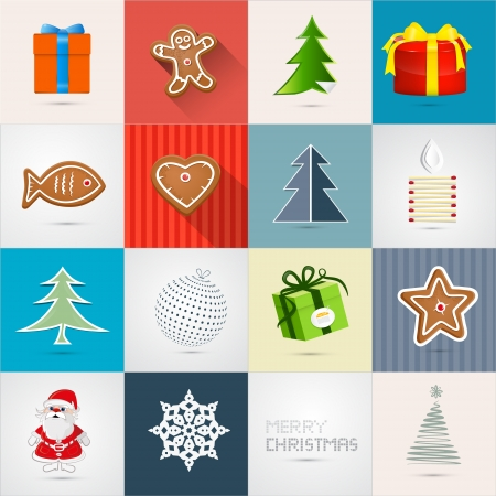 Retro Vector Christmas Icons Set  Vector