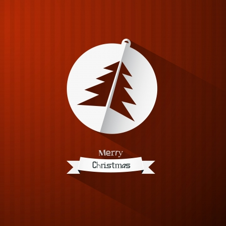 Vector Christmas Theme - Tree on Red Cardboard Paper Background  Vector