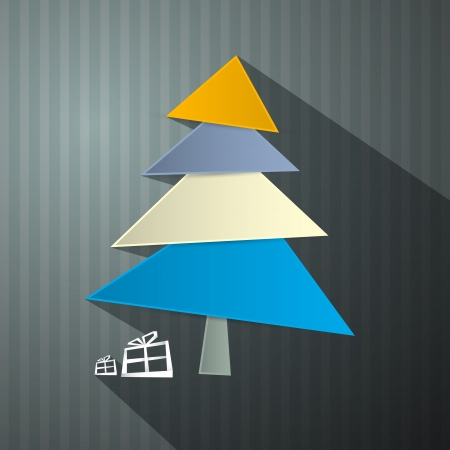 Christmas Paper Background with tree Vector