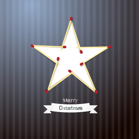 Christmas Background. Star Made From Matches on Retro Cardboard paper. Vector