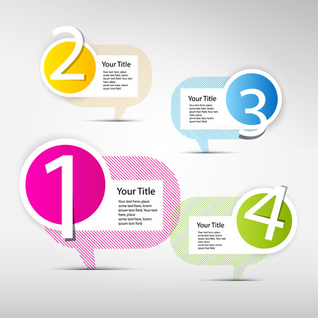 d offer: One, two, three, four, colorful vector paper progress steps for tutorial, infographics