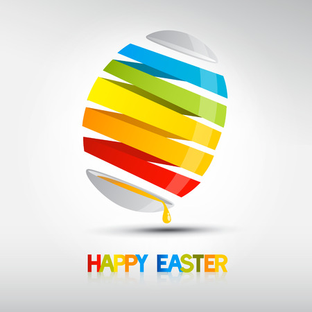 Easter egg, shiny colors, Happy Easter celebration, vector  Vector