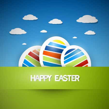 Three colorful easter eggs on green grass with blue sky on background, Happy Easter celebration, vector  Vector
