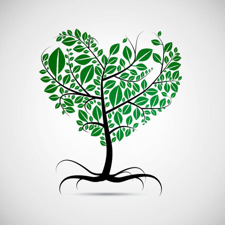 Vector heart shaped tree with green leaves  Ilustrace