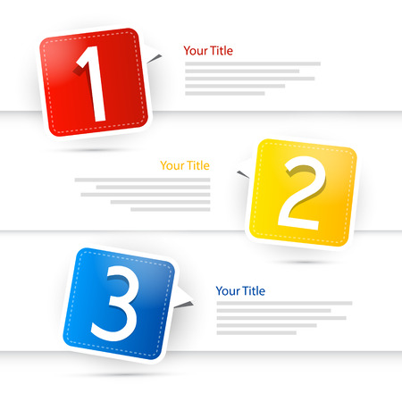 1、2、3、カラフルなベクトル紙進行手順チュートリアル  イラスト・ベクター素材
