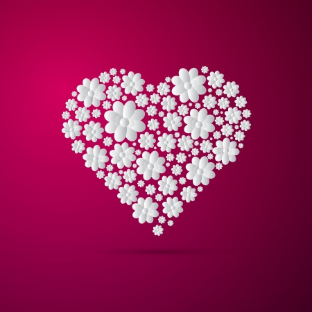 Heart Made from Paper Flowers on Pink Background Vector