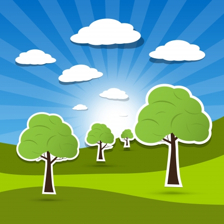 Vector landscape illustration, trees on meadow with white clouds on blue sky  Vector