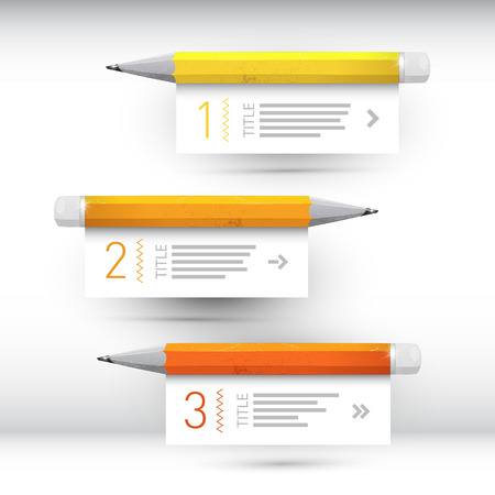 One, two, three, vector paper progress steps for tutorial, infographics  Ilustrace
