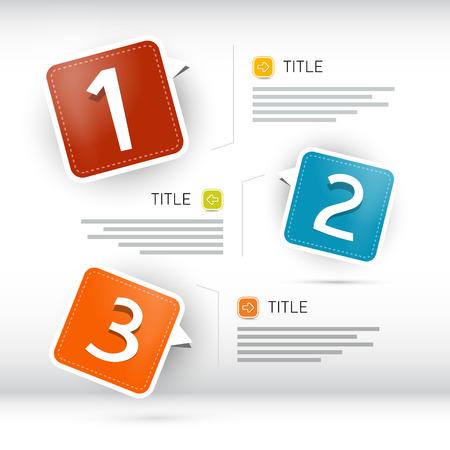 Uno, dos, tres, papel vector de progreso pasos para tutorías, infografía Foto de archivo - 23967106