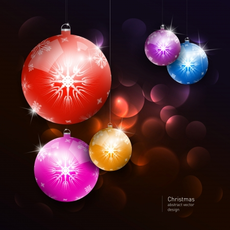 Vector colorful christmas balls on dark background  Vector