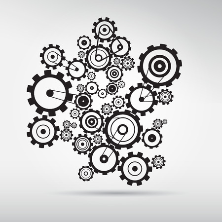 Abstract vector cogs - gears on grey background Vector