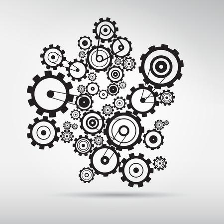 machinery: Engranajes abstracta vector - engranajes sobre fondo gris