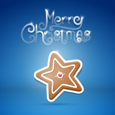 starr: Vector gingerbread starr and title Merry Christmas on blue background