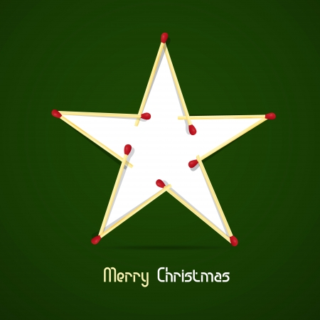 starr: Vector Merry Christmas theme - star made of matches and paper on green background  Illustration