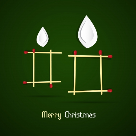starr: Vector Merry Christmas theme - candles made of matches and paper on green background