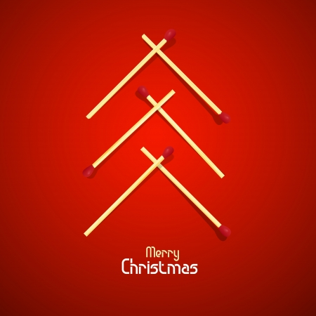 starr: Vector Merry Christmas theme - tree made of matches on red background  Illustration
