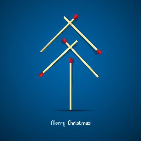 Vector Merry Christmas theme - tree made of matches on blue background  Vector