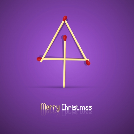 starr: Vector Merry Christmas theme - tree made of matches on violet background  Illustration