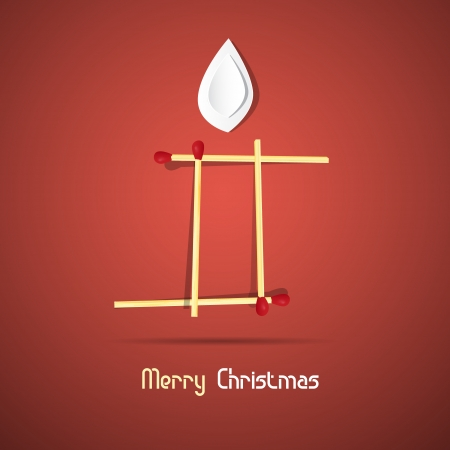 Vector Merry Christmas theme - candle made of matches and paper on red background  Vector
