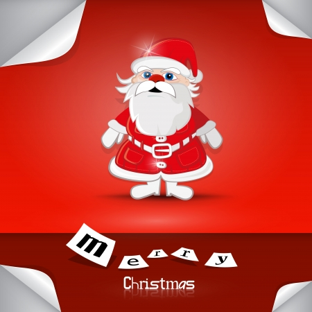 Vector Merry Christmas theme - Santa Claus on red background  Vector