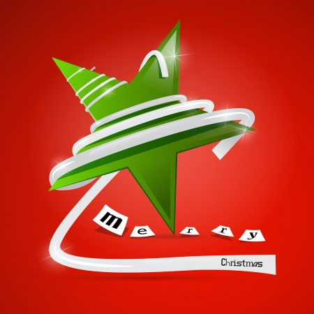 starr: Vector Merry Christmas theme - green star on red background