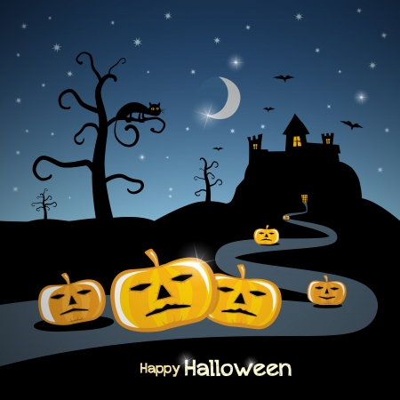Happy Halloween theme with moon, castle, cat and pumpkins, stock vector  Vector