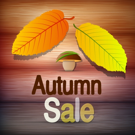 Autumn Sale theme - colorful leaves and mushroom on wooden background, stock vector  Vector