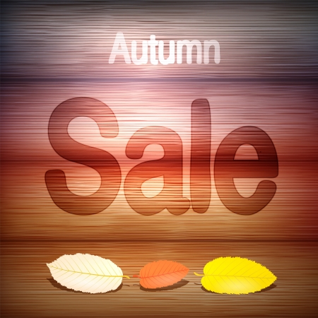 Autumn Sale title on wood with leaves, stock vector  Vector
