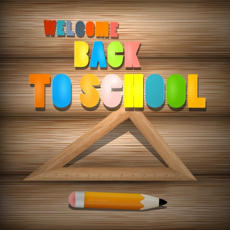 Vector Back to School theme with pencil and ruler on wooden background  Illustration
