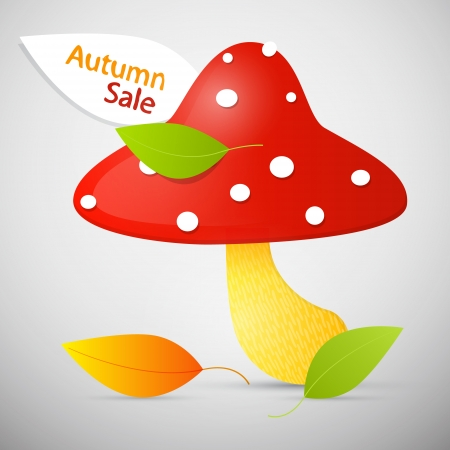 Autumn Sale theme - colorful amanita and leaves on grey background, stock vector  Illustration