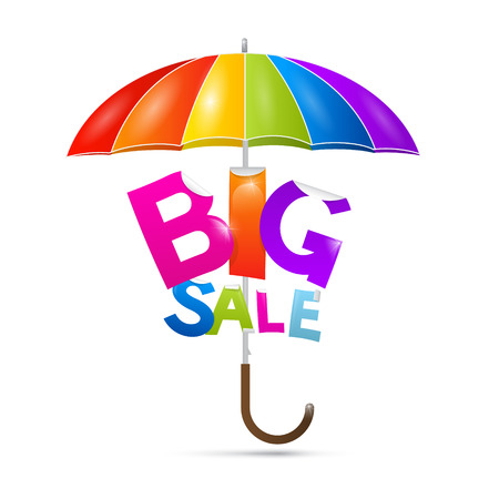 Big sale title with colorful umbrella, stock vector  Vector