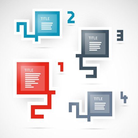 progress steps: One, two, three, four - vector progress steps for tutorial, infographics