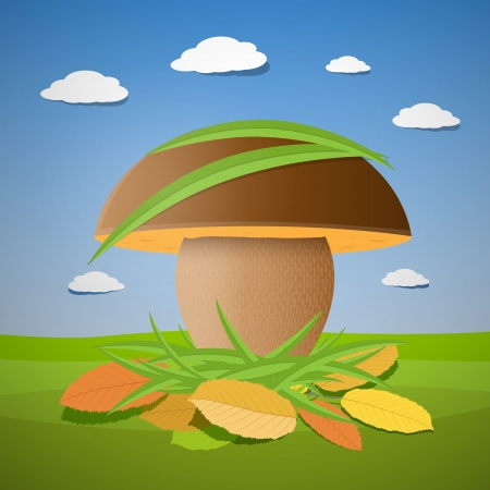 Vector mushroom in autumn scene Stock Vector - 23967662
