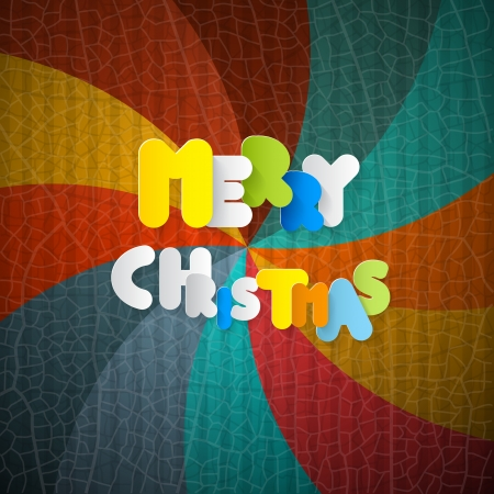 Merry Christmas Paper Title on Retro Background Vector