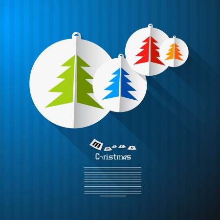 Vector Christmas Theme - Colorful Paper Trees on Blue Cardboard Paper Background  Vector