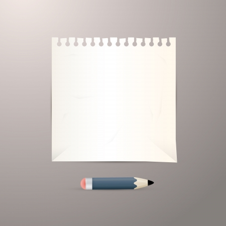 Vector Empty White Paper Sheet with Pencil Vector