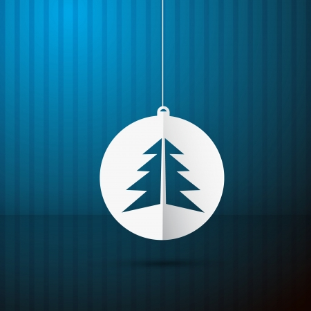 Vector Blue Background with Christmas Ball and Tree Made from Paper Vector