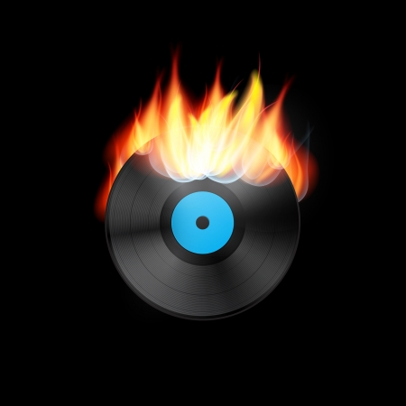 Vector Vinyl Record in Flames on Black Background Vector