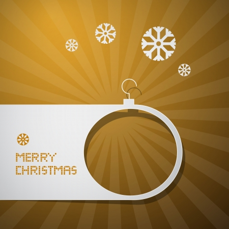 Merry Christmas Golden Background with Paper Ball and Snowflakes Vector