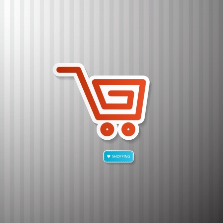 Shopping Cart, Basket Symbol. I Love Shopping. Vector