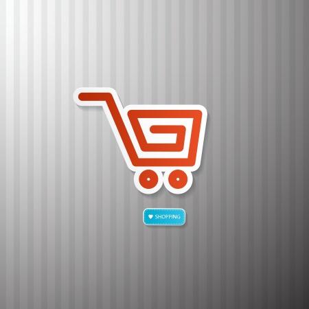 Shopping Cart, Basket Symbol. I Love Shopping. Vector