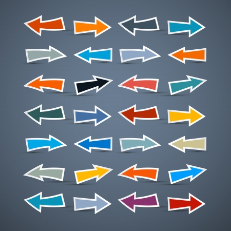 Colorful Vector Paper Arrows Isolated on Dark Background
